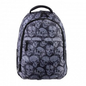 Рюкзак молодежный GoPack 131, 43 х 29 х 13, Skeleton, чёрный/серый