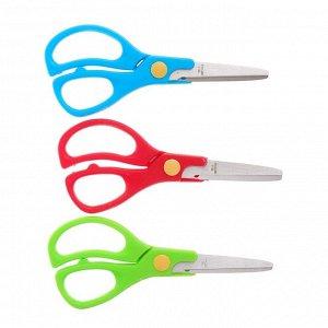 Ножницы 13 см, пластиковые ручки, закругленные концы, на блистере, в картонной коробке, МИКС