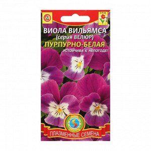 "Семена цветов Виола ""Велюр"", пурпурно-белая, 10 шт"