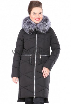 Пальто с мехом FineBabyCat 361-1_Р (Черный)