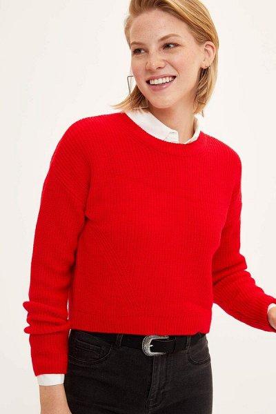 DEFACTO- осенняя подборка - платья, свитеры, кардиганы.  — Джемперы и свитеры бордовый, красный, оранжевый, желтый — Свитеры