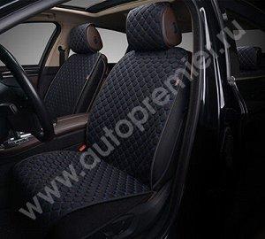 Накидка AUTOPREMIER PREMIUM, комплект на весь салон 4 шт., чёрный/синяя нить, стёганая, 10 мм поролон, 1/3, PRM1100