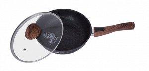 """Сковорода 24 см со съемной ручкой, стеклянной крышкой, АП линия """"Granit ultra"""" (Blue)"""