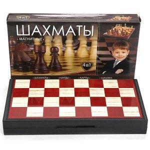 G049-H37012R Шахматы магнитные 4 в 1 (шахматы,шашки,нарды,карты) 25*13*3,5см, в кор. ИГРАЕМ ВМЕСТЕ в кор.4*12шт