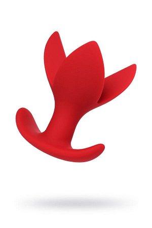 Расширяющая анальная втулка flower, силикон, красная, 9 см, ø 6 см