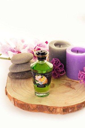Масло для массажа shunga organic exotic green tea, разогревающее, с ароматом зелёного чая, 100 мл