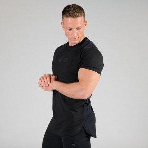 Футболка для силовых тренировок мужская CHEST DAY черная DOMYOS