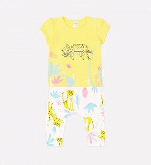 Комплект для девочки Crockid К 2641 сочный лимон + леопарды на сахаре