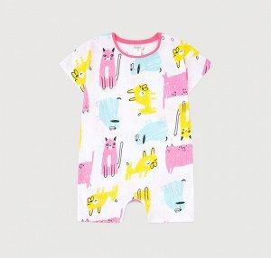 Комбинезон для девочки Crockid К 6294 розовые кошки, собаки на белом