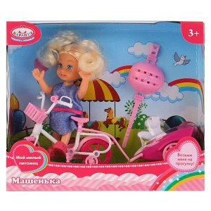 MARY016X-RU Кукла, ТМ Карапуз, Машенька 12см, в наборе велосипед с прицепом, питомец в русс. кор. в кор.2*36шт