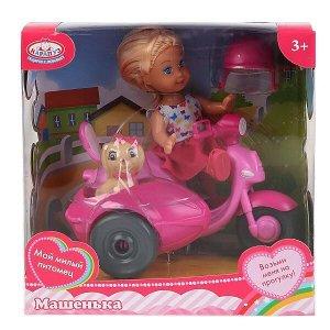 MARY017X-RU Кукла, ТМ Карапуз, Машенька 12см, в наборе мотоцикл с коляской, питомец, аксесс. в кор. в кор.2*24шт