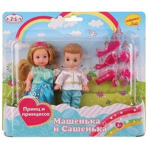 MARY003-GB-BB (36) 2 куклы Машенька и Сашенька 12см, принц и принцесса, с аксесс. на блистере Карапуз в кор.36шт