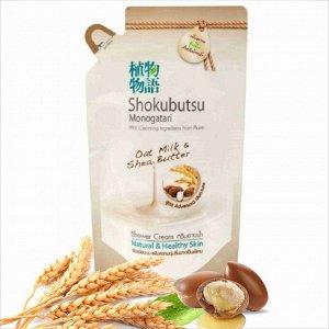 LION Shokubutsu крем-гель для душа Овсянное молочко и масло Ши, 500 мл, мягкая упаковка