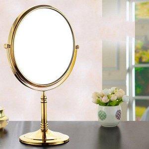 Зеркало настольное на подставке овальное двухстороннее, 16х19 см