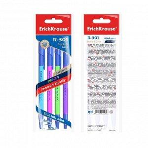 Набор ручек шариковых 4 штуки R-301 Neon Stick & Grip, узел 0.7 мм, чернила синие, резиновый упор, длина линии письма 1000 метров, европодвес