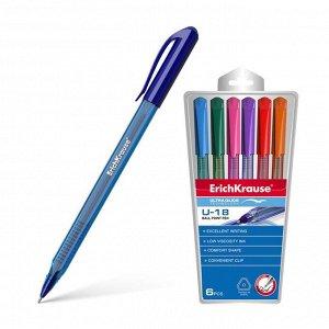Набор ручек шариковых 6 цветов Ultra Glide Technology U-18, трёхгранная, одноразовая, узел 1.0 мм, длина линии письма 800 метров, европодвес