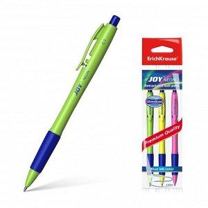 Набор ручек шариковых автоматических 3 штуки Ultra Glide Technology JOY Neon, резиновый упор, узел 0.7 мм, чернила синие, длина линии письма 1300 метров, европодвес