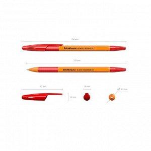 Ручка шариковая Erich Krause R-301 Orange Stick & Grip, узел 0.7 мм, чернила красные, резиновый упор, длина линии письма 1000 ме