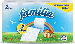 """Т/бумага """"Familia"""" белая Экономичный выбор, 2 слоя, 8 шт Радуга"""