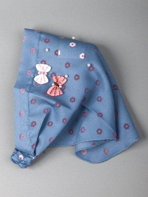 Косынка для девочки на резинке, цветочки, два бантика, голубой