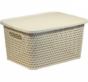 Корзина Ящик д/хранения 280*185*126мм  с/кр [РОТАНГ] белый ротанг Размеры изделия: 185x126x280 мм. Стильная форма без углов, элегантный дизайн. Компактность: ширина большого ящика позволяет установить