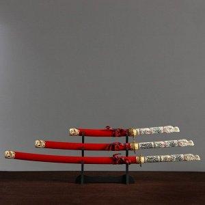 Сув. изделие катаны 3в1 на подставке, ножны дерево, голова дракона полистоун, крас 60/90/108