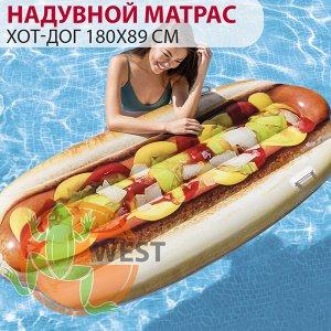"""Пляжный надувной матрас """"Хот-Дог"""" Intex 180х89 см 🌊"""