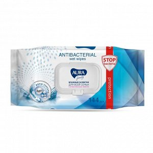 Влажные салфетки AURA FAMILY, с антибактериальным эффектом 144 шт.