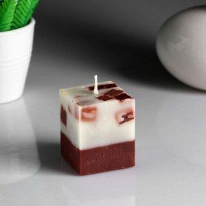 """Свеча- куб """"Ваниль- кофе"""" ароматическая, 5?6 см"""