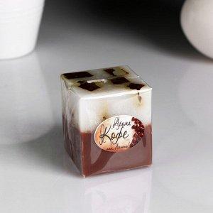 """Свеча- куб с мозаикой """"Кофе"""" ароматическая, 5?6 см"""