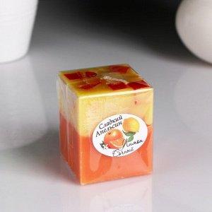 """Свеча- куб """"Лимон- Апельсин"""" ароматическая, 5?6 см"""