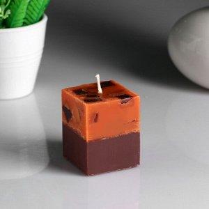 """Свеча- куб """"Апельсин- кофе"""" ароматическая, 5?6 см"""