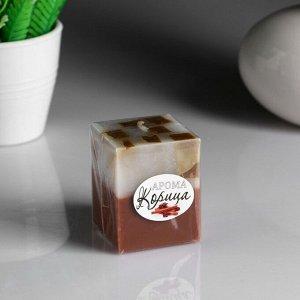"""Свеча- куб с мозаикой """"Корица"""" ароматическая, 5?6 см"""