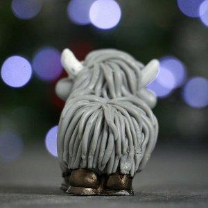 """Мыло фигурное """"Символ года: Коровка шотландская"""" серая 50гр."""