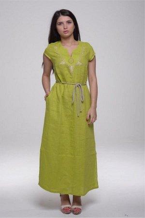 Платье с карманами модель 435/6 зеленое яблоко