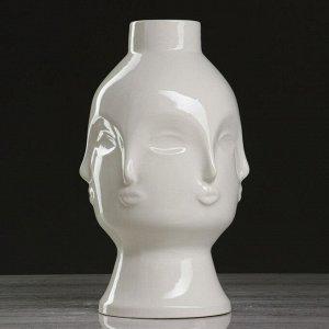"""Ваза настольная """"Лицо"""". белая. 25 см. керамика"""