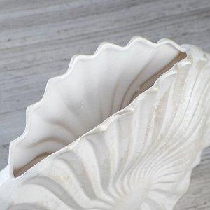 """Ваза настольная """"Ракушка"""". перламутровая. 29 см. керамика"""