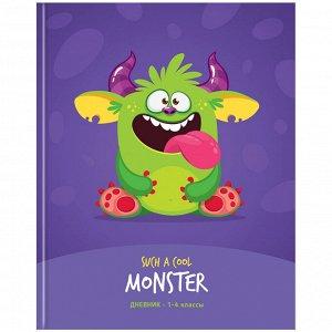 """Дневник 1-4 кл. 48л. (твердый) """"Cool monster"""", матовая ламинация, выборочный лак"""