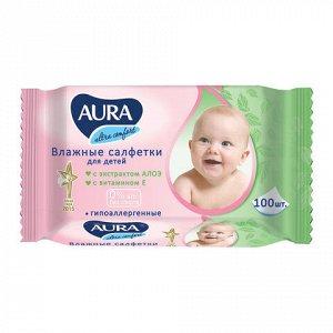 """Салфетки влажные КОМПЛЕКТ 100 шт., для детей AURA """"Ultra comfort"""", универсальные, очищающие, гипоаллергенные, без спирта, 5637"""