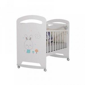 Кровать детская Lucy колесо-качалка (белый) (1200x600)