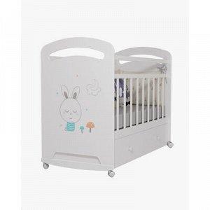 Кровать детская Lucy колесо-качалка c ящиком (белый) (1200x600)