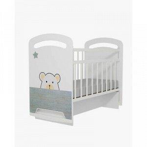 Кровать детская Birba колесо-качалка с маятником (белый) (1200x600)
