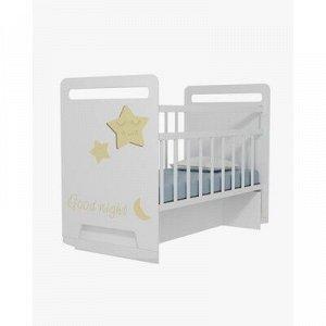 Кровать детская Good Night Star колесо-качалка с маятником (белый) (1200x600)