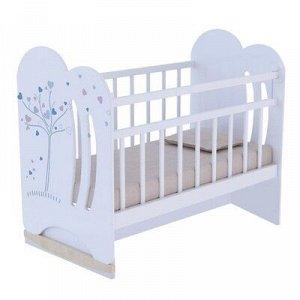 Кровать детская WIND TREE колесо-качалка с маятником (белый) (1200x600)