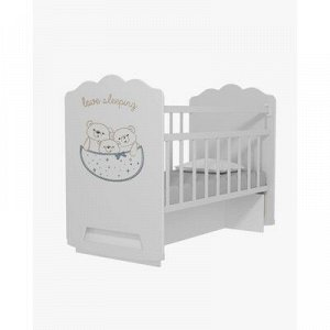 Кровать детская Love Sleeping колесо-качалка с маятником (белый) (1200x600)