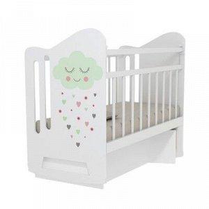 Кровать детская Nicole колесо-качалка с маятником (белый) (1200x600 )