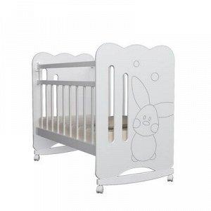 Кровать детская Sweet Rabbit колесо-качалка (белый) ( 1200x600)