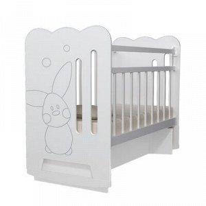 Кровать детская Sweet Rabbit колесо-качалка с маятником, цвет белый