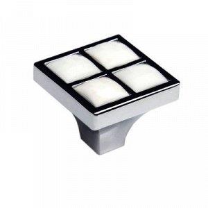 Ручка-кнопка BOYARD RC411CP/CrW, с черной вставкой, цвет хром