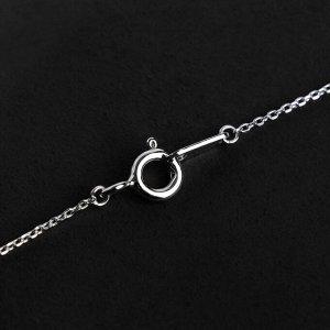"""Кулон """"Крестик"""" стразы разного размера, посеребренее, цвет белый в серебре, L=40 см"""